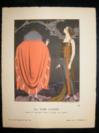 Gazette du Bon Ton by George Barbier 1921 Art Deco Pochoir. La Voie Lactee